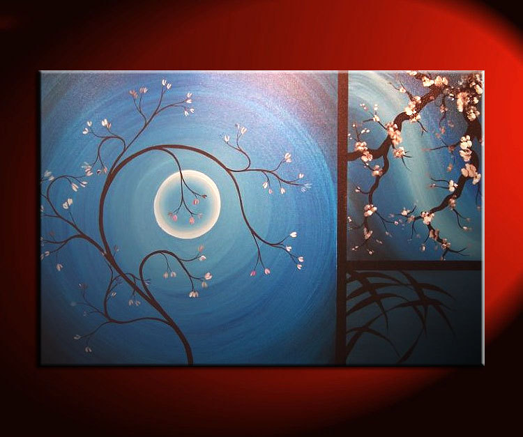 Delicate Cherry Blossom Grasses Moon and Plum Blossom Painting Original Art Blue Wall Art Home Decor Custom 36x24