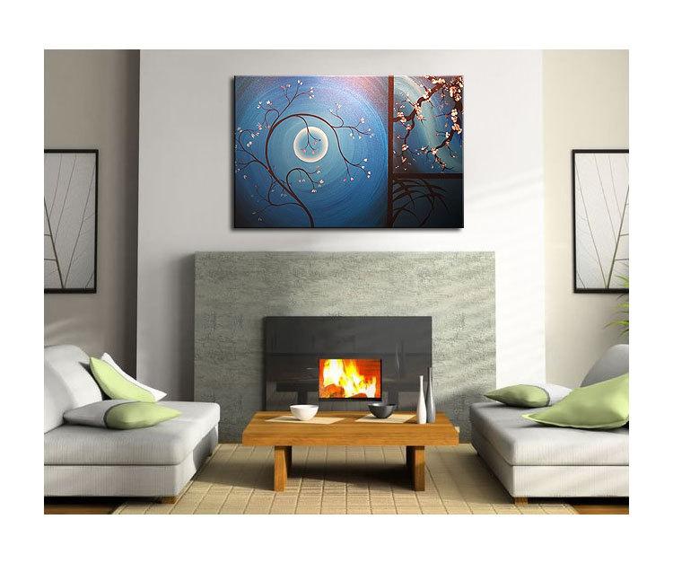Delicate Cherry Blossom Grasses Moon and Plum Blossom Painting Original Art Blue Wall Art Home Decor Custom 36x24