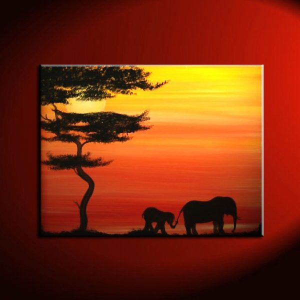 Elephant Painting Sunset Silhouette Lead me and I will Follow Gilmore Girls Friendship Motherhood Daughter Custom 40x30