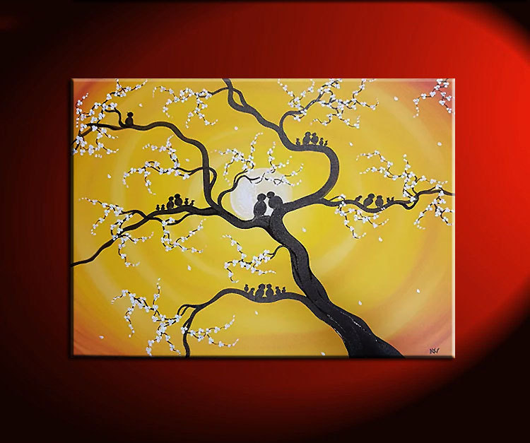 Family Tree Painting Customized Personalized Art Grandparents Parents Children Birds Great Gift Idea Pick Your Colors
