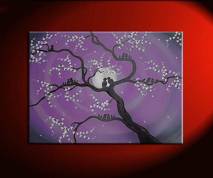 Family Tree Painting Customized Personalized Art Grandparents Parents Children Birds Great Gift Idea Pick your Colors and Size