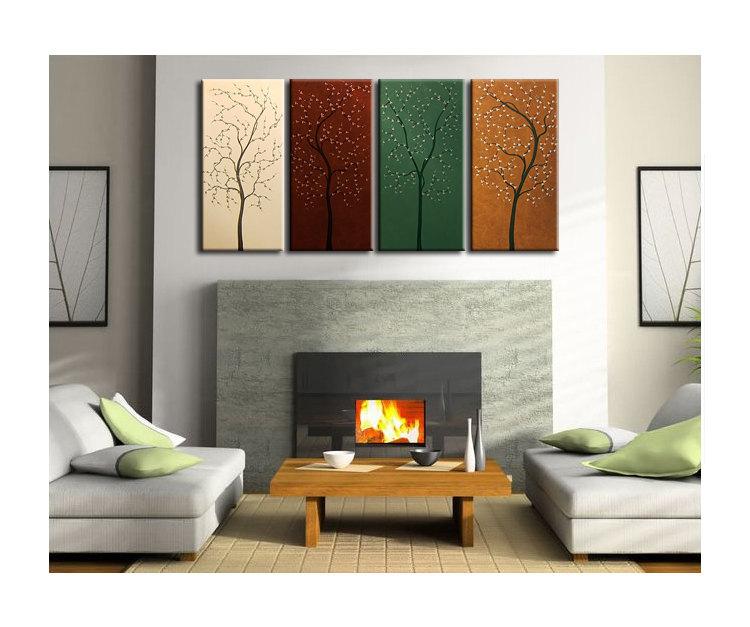 Four Seasons Tree Painting Acrylic Wall Art Original Artwork Home Decor 60x30 Custom Brown Green Beige Art By Nathalie Van