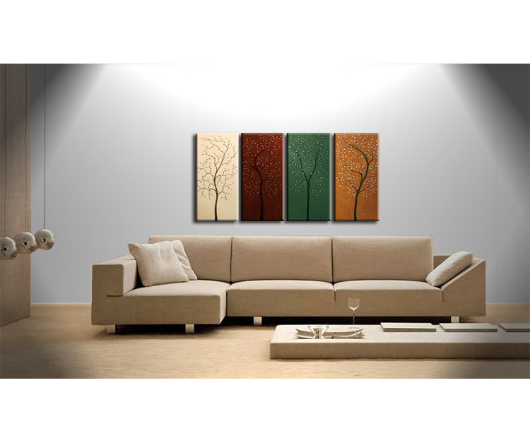 Four Seasons Tree Painting Acrylic Wall Art Original Artwork Home Decor 60x30 Custom Brown Green Beige