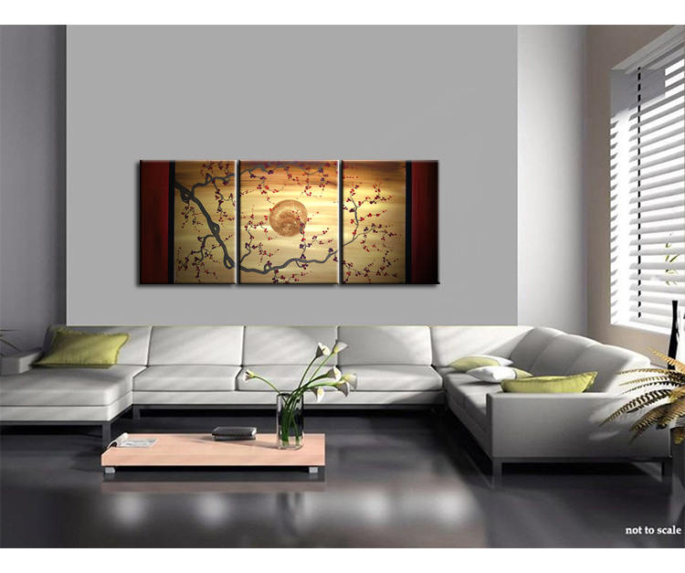 Gnarled Plum Blossom Painting Branch And Moon On Gold And Red Canvas  Acrylic Triptych Painting Japanese