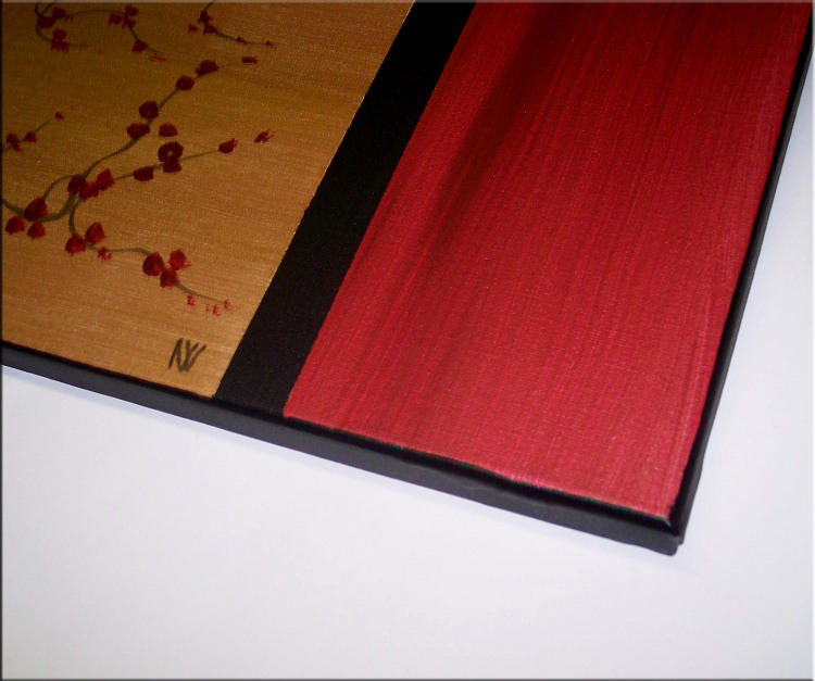 Gnarled Plum Blossom Painting Branch and Moon on Gold and Red Canvas Acrylic Triptych Painting Japanese Wall Art