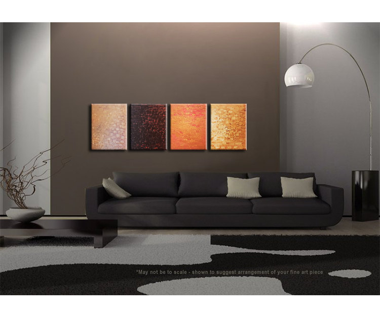 Huge Abstract Painting Large Original Textured Art Warm Modern Contemporary Art Browns Orange Palette Knife Painting  64x20