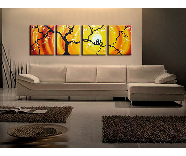 Huge Bird Family Painting Bright Yellow Orange Happy Wall Art Love Birds Cherry Blossoms 64x20 Custom Personalized