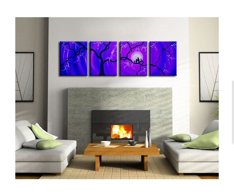 Huge Bird Family Painting Purple Blue Large Wall Art Love Birds Cherry Blossoms 64x20 Custom Personalized