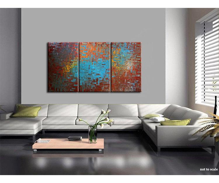 Huge Textured Painting Brown Turquoise Modern Abstract Art Orange Chocolate Original Big Palette Knife Art 72x36 Custom