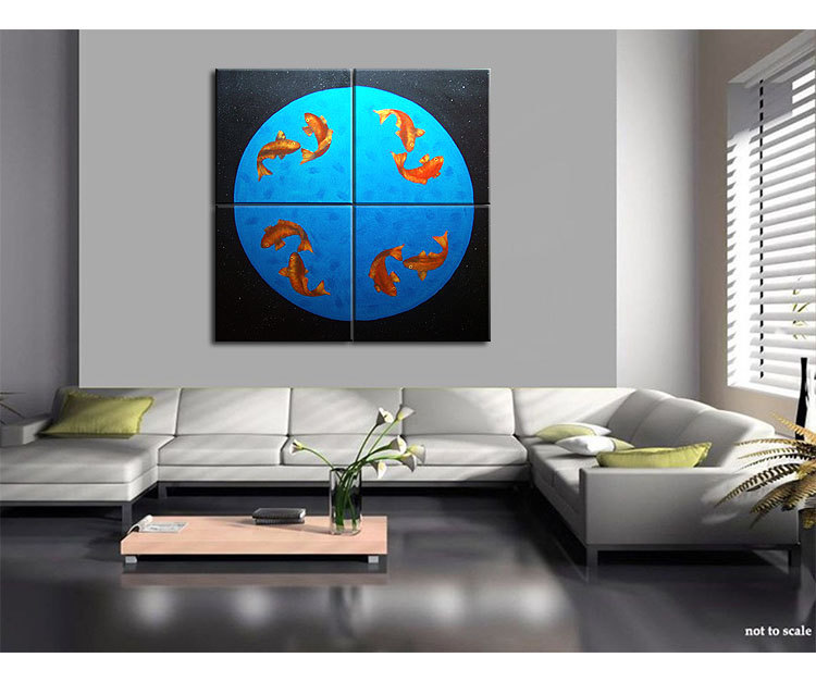 Koi Fish Painting Large Wall Art Black Blue and Orange Zen Asian Chinese Abstract Decor Oversized & Koi Fish Painting Large Wall Art Black Blue and Orange Zen Asian ...