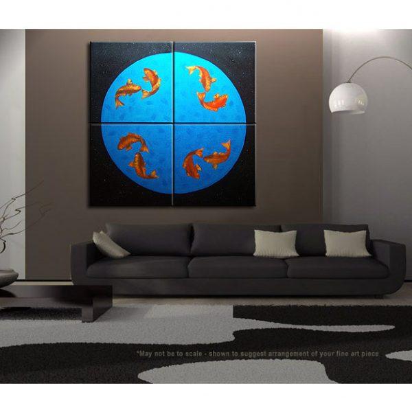 Koi Fish Painting Large Wall Art Black Blue and Orange Zen Asian Chinese Abstract Decor Oversized Custom 60x60