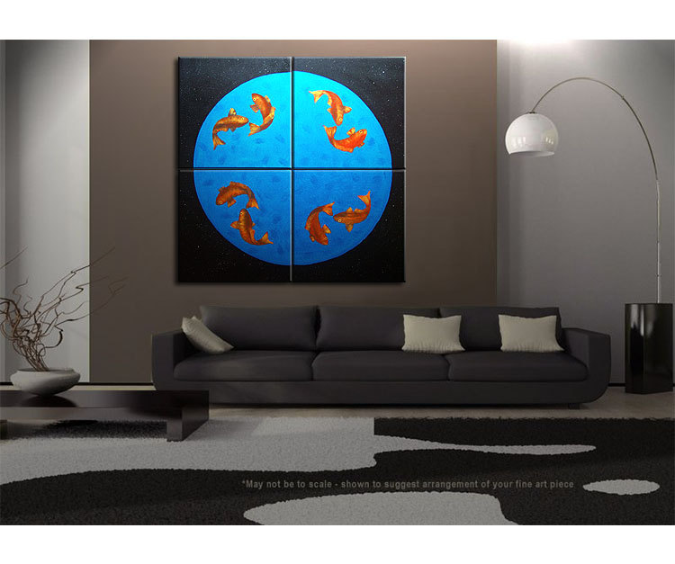 Koi Fish Painting Large Wall Art Black Blue and Orange Zen Asian Chinese Abstract Decor Oversized Custom 60x60
