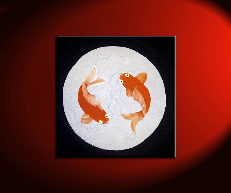 Koi Fish Painting Silver Black Chinese Zen Wall Art Style Original Art Zen Home Decor Custom 30x30