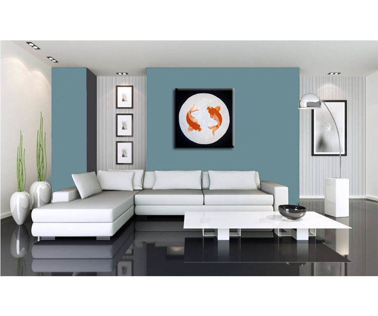 Koi Fish Painting Silver Black Chinese Zen Wall Art Style Original Art Zen Home  Decor Custom