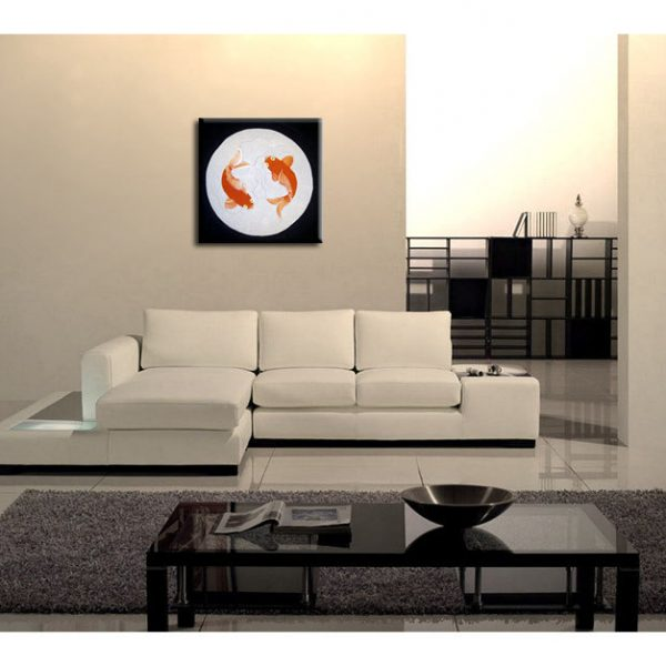 Koi Fish Painting Silver Black Chinese Zen Wall Art Style Original Art Zen Home Decor Custom 30x30