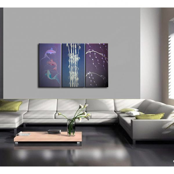 Koi Fishes, Bamboo and Cherry Blossoms Painting in Purples Original Wall Art Home Decor Custom 45x30
