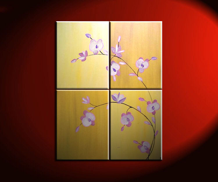 large acrylic orchid painting zen asian yellow golden warm colors