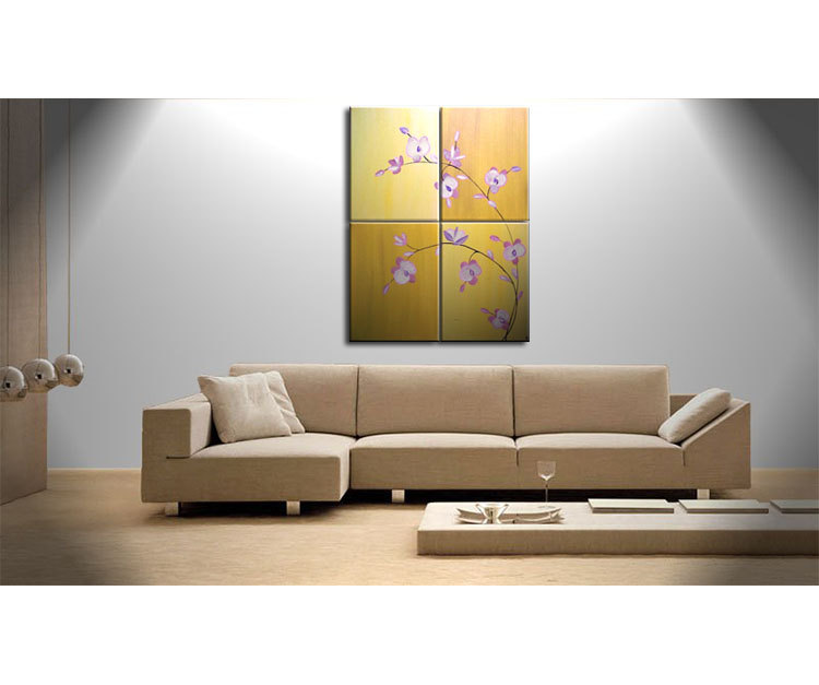 Large Acrylic Orchid Painting Zen Asian Yellow Golden Warm Colors Flower Floral Wall Art Home Decor Large Artwork Custom 32x40