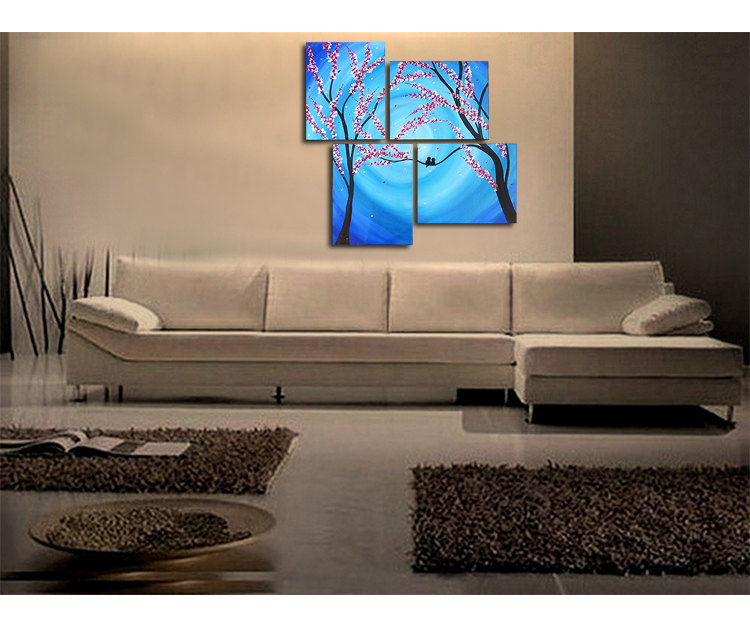 Large Blue Painting Cherry Blossoms and Love Birds Original Wall Art Home Decor Personalize Custom 47x41