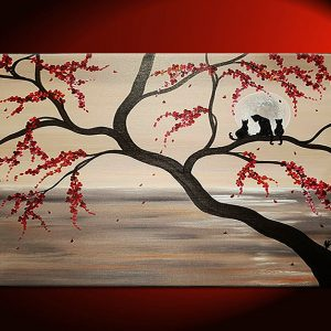 Large Cat Painting Seascape Cherry Blossoms Sepia Huge Artwork Wall Art Custom Personalize 40x30