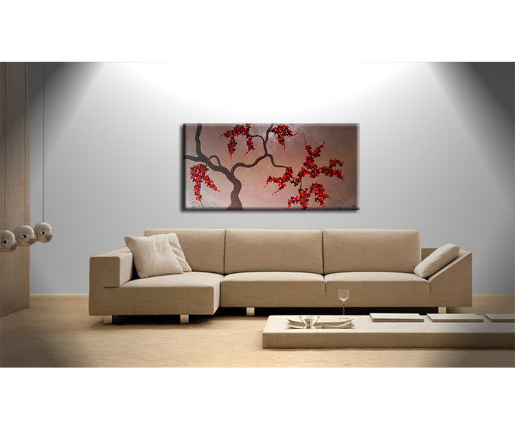 Large Cherry Blossom Tree Painting Original Wall Art Modern Abstract Art Red Blossoms Browns by Nathalie Van 48x24