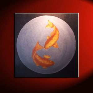 Large Koi Fish Painting Black Silver and Gold Chinese Zen Style Circle Round Original Art Custom 30x30