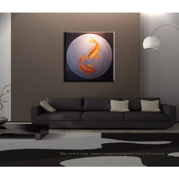 Large Koi Fish Painting Black Silver and Gold Chinese Zen Style Circle Round Original Art Custom 30x30