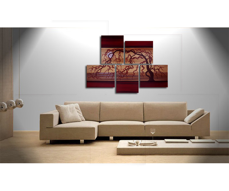 Large Painting Original Artwork Huge Wall Art Red Gold Cherry Blossom Tree Seascape Unique Multiple Canvases Artist Nathalie Van