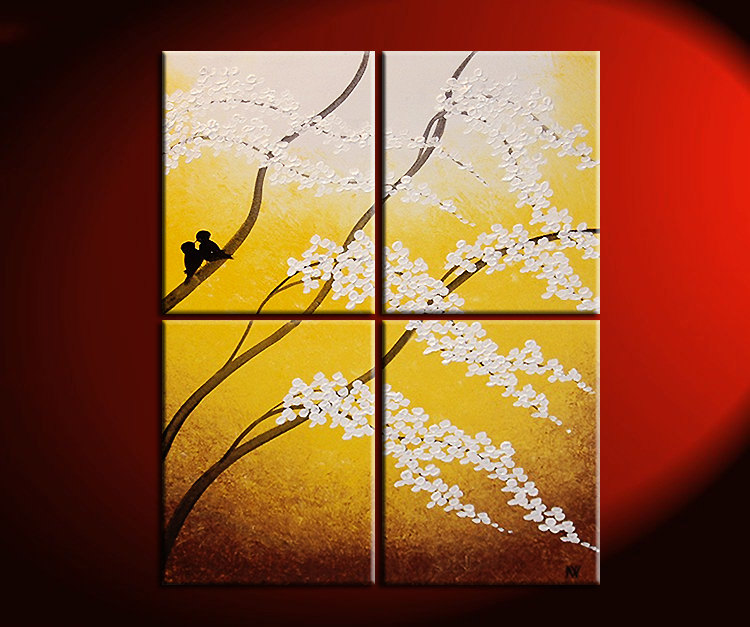 Large Painting Yellow Cherry Blossom Textured Wall Art Home Decor ...