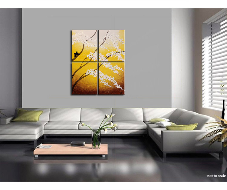 Large Painting Yellow Cherry Blossom Textured Wall Art Home Decor Love Birds 32x40 or Larger Custom Sizes