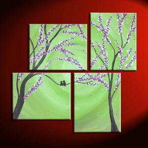 Large Pantone Green Painting Cherry Blossoms and Love Birds Original Wall Art Home Decor Personalize Custom 47x41