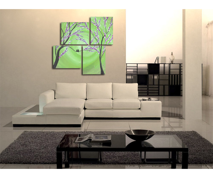 Large Pantone Green Painting Cherry Blossoms And Love