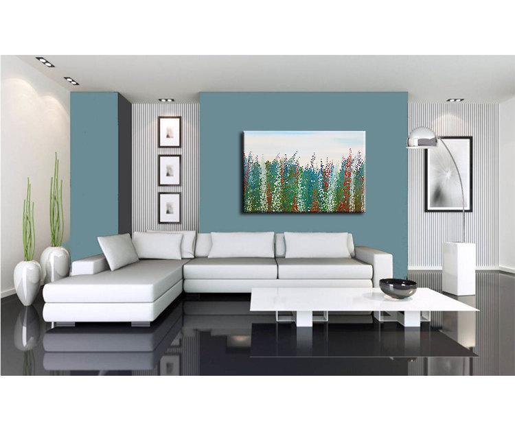 Large Salvia Flower Painting Zen Field Blossoms Green Blue Red White Original Art Floral Artwork Wall Art 40x30 Custom