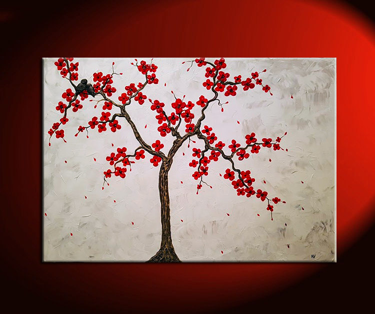 Large Textured Cherry Blossom and Love Bird Painting White with Red Flowers Impasto Texture Huge Art Sculpted Birds Ready to Ship 39.5x27.5