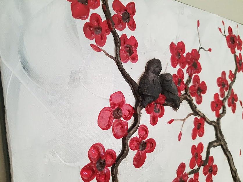 Large textured cherry blossom and love bird painting white with red large textured cherry blossom and love bird painting white with red flowers impasto texture huge art mightylinksfo