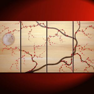 Large Tree Blossom Painting Cherry Blossoms Deep Rich Reds and Gold Tan Beige Chinese Japanese Zen Style Original Wall Art 60x30 custom