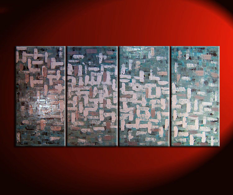 Large Turquoise Abstract Painting Grey White Accents Textured Modern Art 60x30 Custom Sizing Available