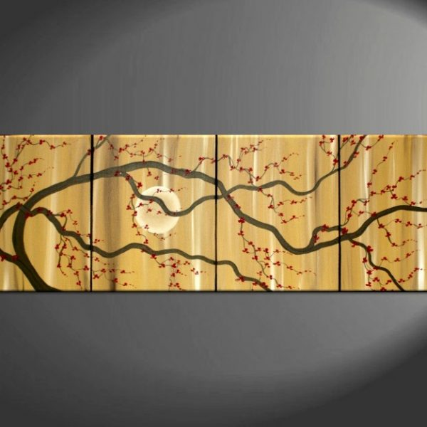 Large Zen Plum Blossom Painting Soft Caramel Neutral Colors Japanese Asian Zen Original Art Custom 75x30