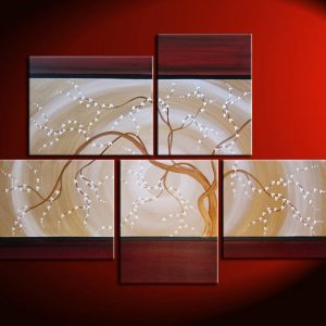 Large Zen Wall Art Red and Gold HUGE Painting Contemporary Abstract Asian Fusion Gnarly Plum Blossom Art Custom 56x40