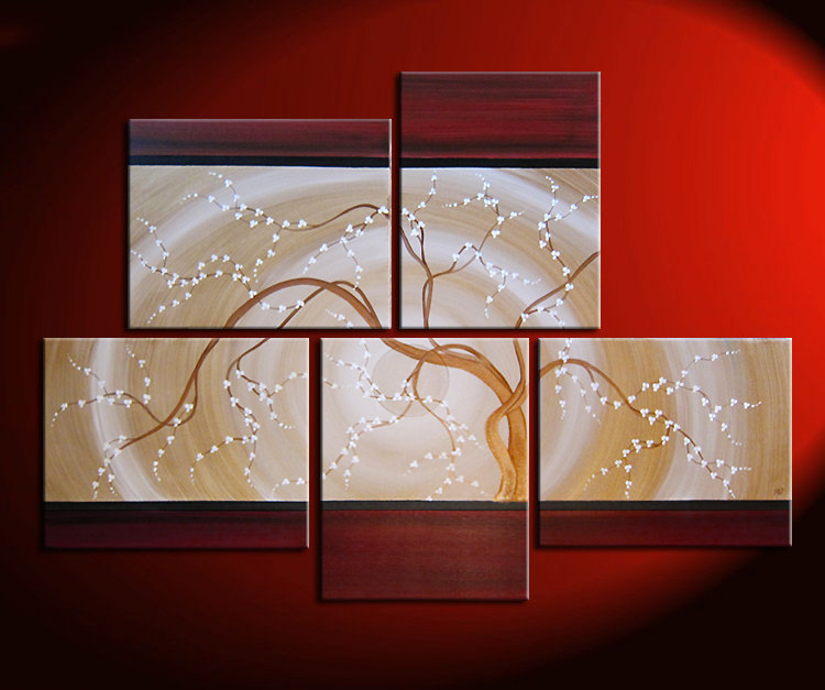 Large Zen Wall Art Red And Gold HUGE Painting Contemporary Abstract Asian  Fusion Gnarly Plum Blossom