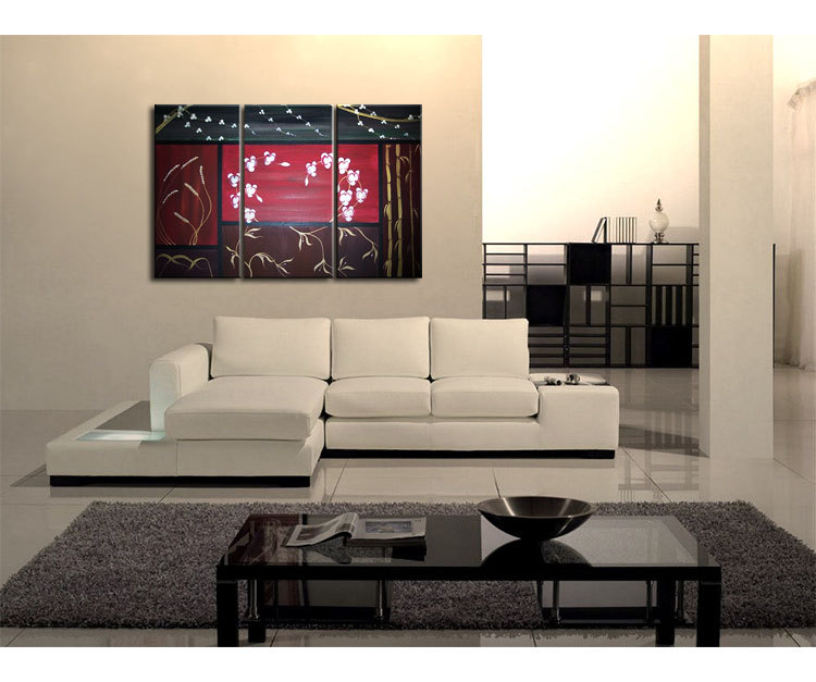 Orchids Wheat Cherry Blossoms Vines And Bamboo Asian Composition Painting Wall Art Home Decor