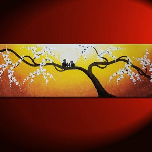 Personalized Bird Family Painting Yellow Wall Art Cherry Blossom Tree Sunny Happy Custom 36x12
