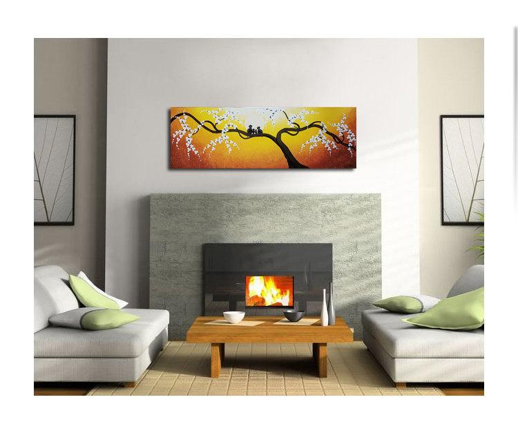 Personalized Bird Family Painting Yellow Wall Art Cherry Blossom Tree Sunny Happy Custom 36x12