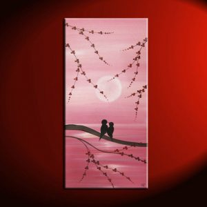 Pink Love Bird Painting Original Wall Art Seascape with Cherry Blossoms Accent Size Valentines Gift  by Nathalie Van