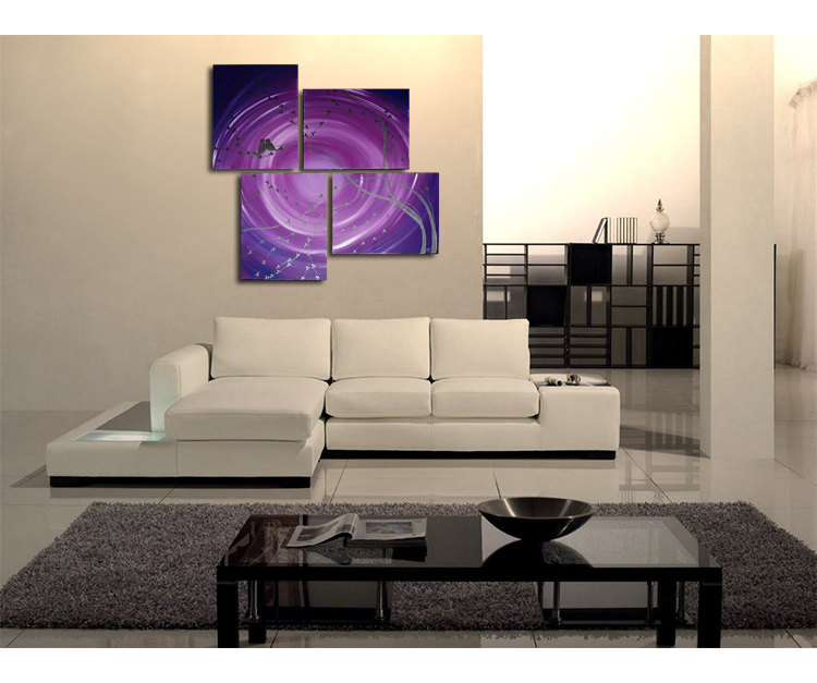 Purple Abstract Painting Cherry Blossoms and Love Birds Silver Hints Huge Custom Personalized 47x41