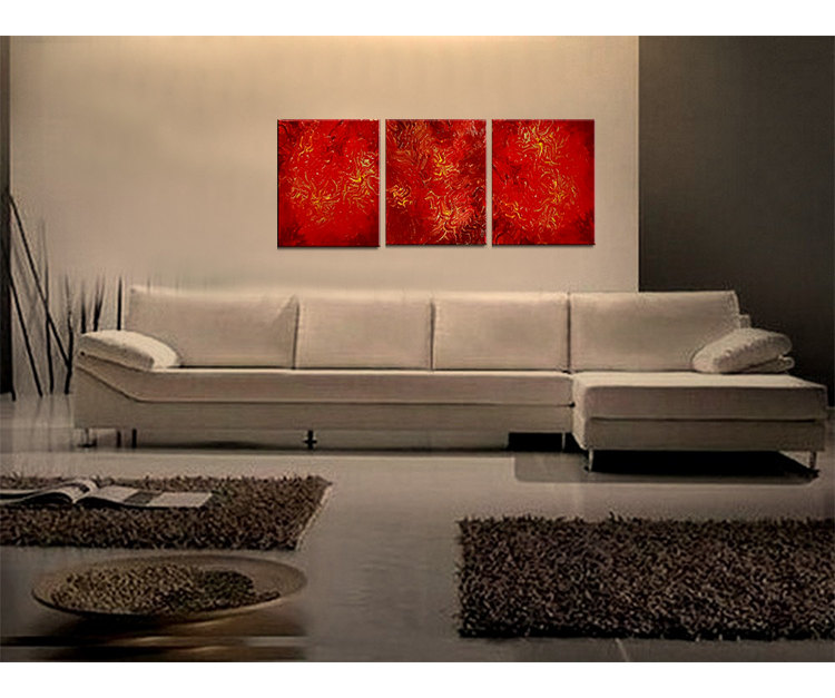 Red Abstract Painting Textured Contemporary Wall Art Vibrant Passionate Home Decor 48x20 Custom