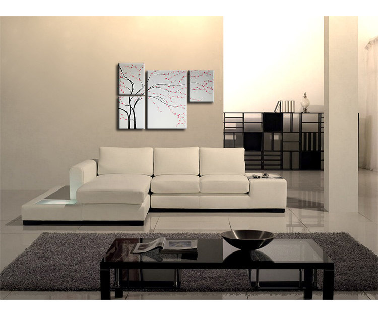 Unique Original Painting black and white Wall Art Cherry Blossom Asymmetrical Home Decor Floral Spa 60x41 Custom