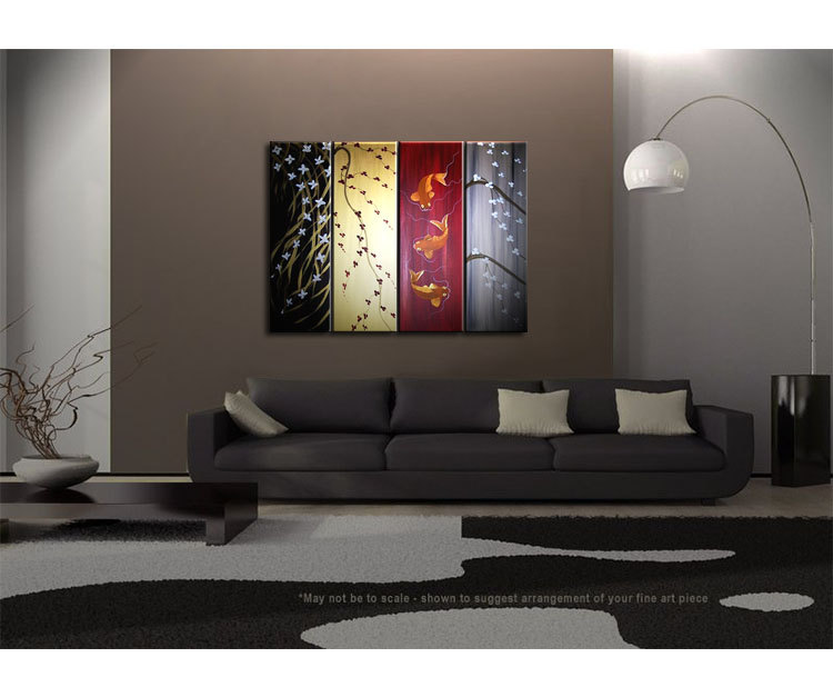 Wild Orchids, Cherry Blossoms, Koi Fishes Painting in Black, Gold, Reds and Grays Custom Artwork 48x36