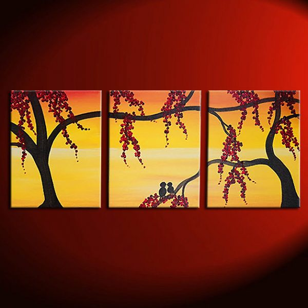 Yellow Sunset Painting With Love Birds In Berry Tree Orange Wall Art Home  Decor Triptych Accent