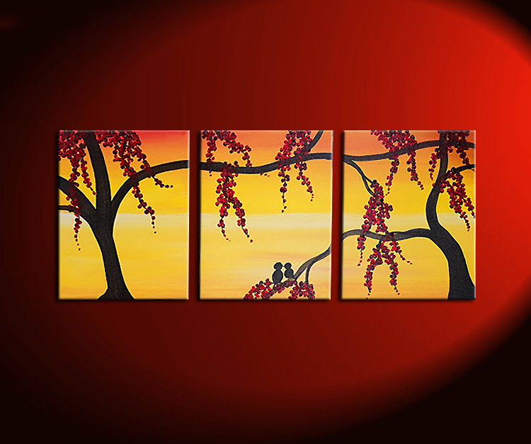 Yellow Sunset Painting with Love Birds in Berry Tree Orange Wall Art ...